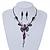 Exquisite Y-Shape Magenta Rose Necklace & Drop Earring Set In Black Metal - view 2
