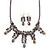 Victorian/ Gothic/ Burlesque Metallic Purple Glass Bead Necklace & Drop Earring Set In Rhodium Plating - 40cm Length/ 5cm Extension