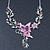 Pink/ Green Austrian Crystal 'Butterfly' Necklace & Drop Earring Set In Rhodium Plating - 40cm Length/ 6cm Extension - view 6