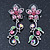 Pink/ Green Austrian Crystal 'Butterfly' Necklace & Drop Earring Set In Rhodium Plating - 40cm Length/ 6cm Extension - view 8