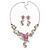 Pink/ Green Austrian Crystal 'Butterfly' Necklace & Drop Earring Set In Rhodium Plating - 40cm Length/ 6cm Extension - view 4