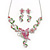 Pink/ Green Austrian Crystal 'Butterfly' Necklace & Drop Earring Set In Rhodium Plating - 40cm Length/ 6cm Extension - view 1