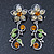 Green, Citrine & Topaz Coloured Austrian Crystal 'Butterfly' Necklace & Drop Earring Set In Rhodium Plating - 40cm Length/ 6cm Extension - view 10