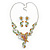 Green, Citrine & Topaz Coloured Austrian Crystal 'Butterfly' Necklace & Drop Earring Set In Rhodium Plating - 40cm Length/ 6cm Extension - view 5