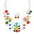Multicoloured Shell & Crystal Floating Bead Necklace & Drop Earring Set - 52cm Length/ 5cm extension - view 2