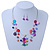Multicoloured Shell & Crystal Floating Bead Necklace & Drop Earring Set - 52cm Length/ 5cm extension