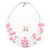 Baby Pink Shell & Crystal Floating Bead Necklace & Drop Earring Set - 52cm Length/ 5cm extension