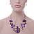 Purple/ Violet Shell & Crystal Floating Bead Necklace & Drop Earring Set - 52cm Length/ 5cm extension - view 2