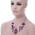 Purple/ Violet Shell & Crystal Floating Bead Necklace & Drop Earring Set - 52cm Length/ 5cm extension - view 9
