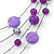 Purple/ Violet Shell & Crystal Floating Bead Necklace & Drop Earring Set - 52cm Length/ 5cm extension - view 4