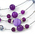 Purple/ Violet Shell & Crystal Floating Bead Necklace & Drop Earring Set - 52cm Length/ 5cm extension - view 5