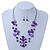 Purple/ Violet Shell & Crystal Floating Bead Necklace & Drop Earring Set - 52cm Length/ 5cm extension - view 7