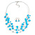 Azure Blue Square Shell & Crystal Floating Bead Necklace & Drop Earring Set - 52cm Length/ 6cm extension