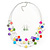 Multicoloured Square Shell & Crystal Floating Bead Necklace & Drop Earring Set - 52cm Length/ 6cm extension - view 2