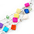Multicoloured Square Shell & Crystal Floating Bead Necklace & Drop Earring Set - 52cm Length/ 6cm extension - view 4