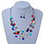 Multicoloured Square Shell & Crystal Floating Bead Necklace & Drop Earring Set - 52cm Length/ 6cm extension - view 7