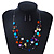 Multicoloured Square Shell & Crystal Floating Bead Necklace & Drop Earring Set - 52cm Length/ 6cm extension - view 8