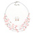 Baby Pink Square Shell & Crystal Floating Bead Necklace & Drop Earring Set - 52cm Length/ 6cm extension - view 8