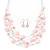 Baby Pink Square Shell & Crystal Floating Bead Necklace & Drop Earring Set - 52cm Length/ 6cm extension - view 2