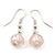 Baby Pink Square Shell & Crystal Floating Bead Necklace & Drop Earring Set - 52cm Length/ 6cm extension - view 6