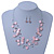 Baby Pink Square Shell & Crystal Floating Bead Necklace & Drop Earring Set - 52cm Length/ 6cm extension - view 7