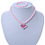 Children's Pink/ White Imitation Pearl Bead Heart Flex Necklace & Flex Bracelet Set - view 6