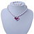 Children's Lavender/ White Imitation Pearl Bead Heart Flex Necklace & Flex Bracelet Set - view 2