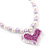 Children's Lavender/ White Imitation Pearl Bead Heart Flex Necklace & Flex Bracelet Set - view 3