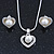 Delicate Crystal, Simulated Pearl 'Heart' Pendant With Silver Tone Snake Chain & Stud Earrings Set - 40cm Length/ 6cm Extension - view 9