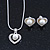 Delicate Crystal, Simulated Pearl 'Heart' Pendant With Silver Tone Snake Chain & Stud Earrings Set - 40cm Length/ 6cm Extension - view 2