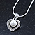 Delicate Crystal, Simulated Pearl 'Heart' Pendant With Silver Tone Snake Chain & Stud Earrings Set - 40cm Length/ 6cm Extension - view 3