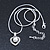 Delicate Crystal, Simulated Pearl 'Heart' Pendant With Silver Tone Snake Chain & Stud Earrings Set - 40cm Length/ 6cm Extension - view 5