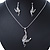 Clear Crystal 'Fairy' Pendant With Silver Tone Snake Chain & Drop Earrings Set - 40cm Length/ 5cm Extension - view 6