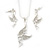 Clear Crystal 'Fairy' Pendant With Silver Tone Snake Chain & Drop Earrings Set - 40cm Length/ 5cm Extension - view 2