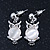 Milky White Moonstone 'Wise Owl' Pendant With Silver Tone Chain & Drop Earrings Set - 44cm Length/ 5cm Extension - view 6