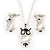 Milky White Moonstone 'Wise Owl' Pendant With Silver Tone Chain & Drop Earrings Set - 44cm Length/ 5cm Extension - view 2