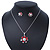 Enamel Red Simulated Pearl, Crystal Flower Pendant With Silver Tone Snake Style Chain & Stud Earrings Set - 40cm Length/ 6cm Extender - view 10