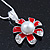 Enamel Red Simulated Pearl, Crystal Flower Pendant With Silver Tone Snake Style Chain & Stud Earrings Set - 40cm Length/ 6cm Extender - view 11