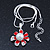Enamel Red Simulated Pearl, Crystal Flower Pendant With Silver Tone Snake Style Chain & Stud Earrings Set - 40cm Length/ 6cm Extender - view 5