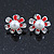 Enamel Red Simulated Pearl, Crystal Flower Pendant With Silver Tone Snake Style Chain & Stud Earrings Set - 40cm Length/ 6cm Extender - view 9