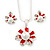 Enamel Red Simulated Pearl, Crystal Flower Pendant With Silver Tone Snake Style Chain & Stud Earrings Set - 40cm Length/ 6cm Extender - view 2