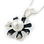 Enamel Dark Blue Simulated Pearl, Crystal Flower Pendant With Silver Tone Snake Style Chain & Stud Earrings Set - 40cm Length/6cm Extender - view 3
