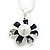 Enamel Dark Blue Simulated Pearl, Crystal Flower Pendant With Silver Tone Snake Style Chain & Stud Earrings Set - 40cm Length/6cm Extender - view 8