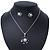 Enamel Dark Blue Simulated Pearl, Crystal Flower Pendant With Silver Tone Snake Style Chain & Stud Earrings Set - 40cm Length/6cm Extender - view 7