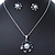 Enamel Dark Blue Simulated Pearl, Crystal Flower Pendant With Silver Tone Snake Style Chain & Stud Earrings Set - 40cm Length/6cm Extender - view 10