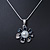 Enamel Dark Blue Simulated Pearl, Crystal Flower Pendant With Silver Tone Snake Style Chain & Stud Earrings Set - 40cm Length/6cm Extender - view 11