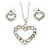 Clear Austrian Crystal Open Cut Heart Pendant With Silver Tone Chain and Stud Earrings Set - 40cm L/ 5cm Ext - Gift Boxed