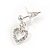 Clear Austrian Crystal Double Heart Pendant With Silver Tone Chain and Stud Earrings Set - 40cm L/ 5cm Ext - Gift Boxed - view 8