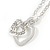 Clear Austrian Crystal Double Heart Pendant With Silver Tone Chain and Stud Earrings Set - 40cm L/ 5cm Ext - Gift Boxed - view 5