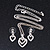 Clear Austrian Crystal Double Heart Pendant With Silver Tone Chain and Stud Earrings Set - 40cm L/ 5cm Ext - Gift Boxed - view 3